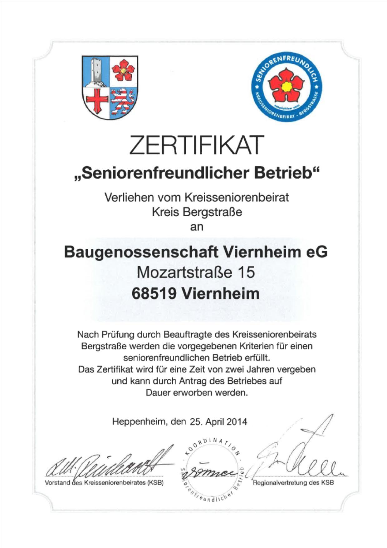 Zertifikat Kreisseniorenbeirat